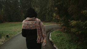 Stylish woman walking in autumn park/forest during rainy day, rear view. stock footage