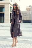 Stylish woman walking in the city Royalty Free Stock Image