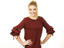 Stylish woman wearing burgundy top royalty free stock images
