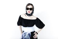 Stylish woman wearing headscarf and sunglasses Stock Photography
