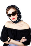 Stylish woman wearing headscarf and sunglasses Stock Image