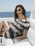 Stylish Woman Wearing Sunglasses On Yacht Royalty Free Stock Image