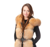 Stylish woman in winter fur jacket Stock Images