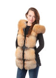 Stylish woman in winter fur jacket Royalty Free Stock Photography