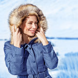 Stylish woman in winter park Stock Image