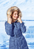 Stylish woman in winter park Royalty Free Stock Photo