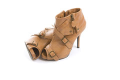 Stylish women brown boots (accessories) on white Stock Photos