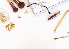 Stylish women`s accessories on the white background Stock Photography