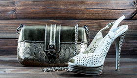 Stylish women's bag and shoes Royalty Free Stock Photos