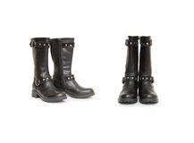 Stylish women's boots isolated on white Royalty Free Stock Images