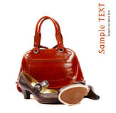 Stylish women's leather bag and Royalty Free Stock Photos