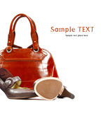 Stylish women's leather bag and shoes Stock Photo