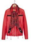 Stylish women's leather jacket is isolated stock images