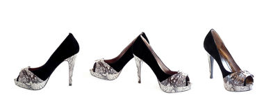 Stylish women's shoes, collage. Royalty Free Stock Photography