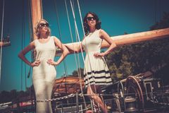 Stylish women on a yacht Royalty Free Stock Image