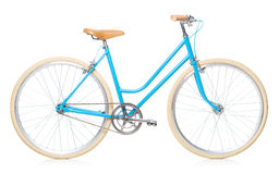 Stylish womens blue bicycle isolated on white Royalty Free Stock Images