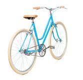 Stylish womens blue bicycle isolated on white Stock Images