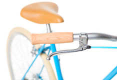 Stylish womens blue bicycle isolated on white Royalty Free Stock Photography