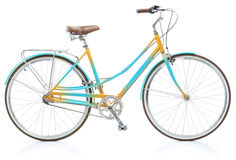 Stylish womens blue and yellow bicycle isolated on white Royalty Free Stock Image