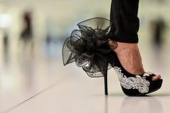 Stylish womens design high heel shoes. Close-up photo of stylish womens design high heel shoes royalty free stock photos