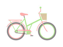 Stylish womens green bicycle isolated on white background wheel pedal transportation vector. Stock Images