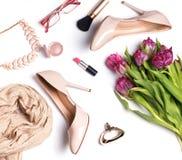 Stylish womens outfit, flat lay. Stock Image