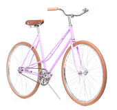Stylish womens pink bicycle isolated on white Stock Photos