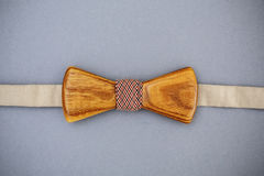 Stylish wooden bowtie soft cloth ribbon. Classic groom accessories. Set of men`s stylish vintage wooden. Male decoration for couple. Jewelry for man. Groom`s stock image