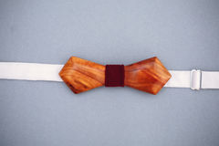 Stylish wooden bowtie soft cloth ribbon. Classic groom accessories. Set of men`s stylish vintage wooden. Male decoration for couple. Jewelry for man. Groom`s stock images