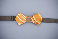 Stylish wooden bowtie soft cloth ribbon. Classic groom accessories. Set of men`s stylish vintage wooden. Male decoration for couple. Jewelry for man. Groom`s royalty free stock photography