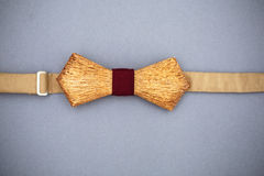 Stylish wooden bowtie soft cloth ribbon. Classic groom accessories. Set of men`s stylish vintage wooden. Male decoration for couple. Jewelry for man. Groom`s royalty free stock photo