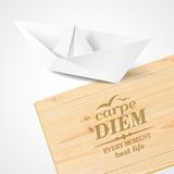 Stylish wooden plaque with the text Carpe diem. Royalty Free Stock Photos