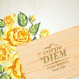 Stylish wooden plaque with the text Carpe diem. Royalty Free Stock Photography