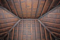 Stylish wooden roof of living room in villa Royalty Free Stock Images