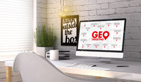 Stylish workplace with computer with geo targeting concept on th Royalty Free Stock Photo