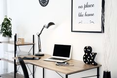 Stylish workplace with laptop Royalty Free Stock Photos