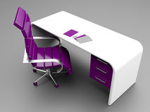 Stylish workplace in purple and white colors Royalty Free Stock Images