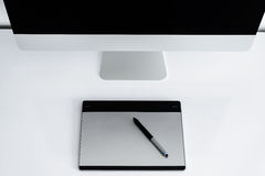 Stylish workspace with computer on home Royalty Free Stock Photo