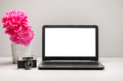 Stylish workspace with laptop computer, office supplies, camera, Stock Photos