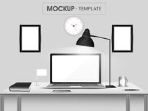 Stylish workspace with modern devices. Royalty Free Stock Images