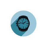 Stylish wristwatch illustration, elegant timepiece with dial and Stock Images