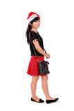 Stylish Xmas girl standing Royalty Free Stock Photography