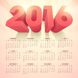 Stylish Yearly 2016 Calendar design. Stylish Annual Calendar design with glossy 3D text 2016 on abstract rays background for Happy New Year celebration Stock Image