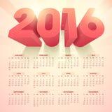 Stylish Yearly 2016 Calendar design. Stock Image