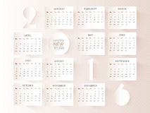 Stylish Yearly 2016 Calendar design. Royalty Free Stock Images