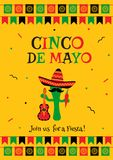 Stylish yellow cinco de mayo party card invitation. Stylish cinco de mayo fiesta invitation poster template. Festive yellow design with bunting flags. Funny vector illustration