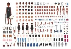 Stylish young African American lady DIY or animation kit. Bundle of female character body details, poses, gestures. Elegant clothing isolated on white royalty free illustration