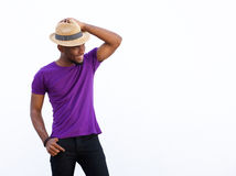 Stylish young african guy looking away Stock Photos