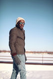 Stylish young african man outdoors in the winter Royalty Free Stock Photography