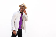 Stylish young african man talking on mobile phone Stock Photography